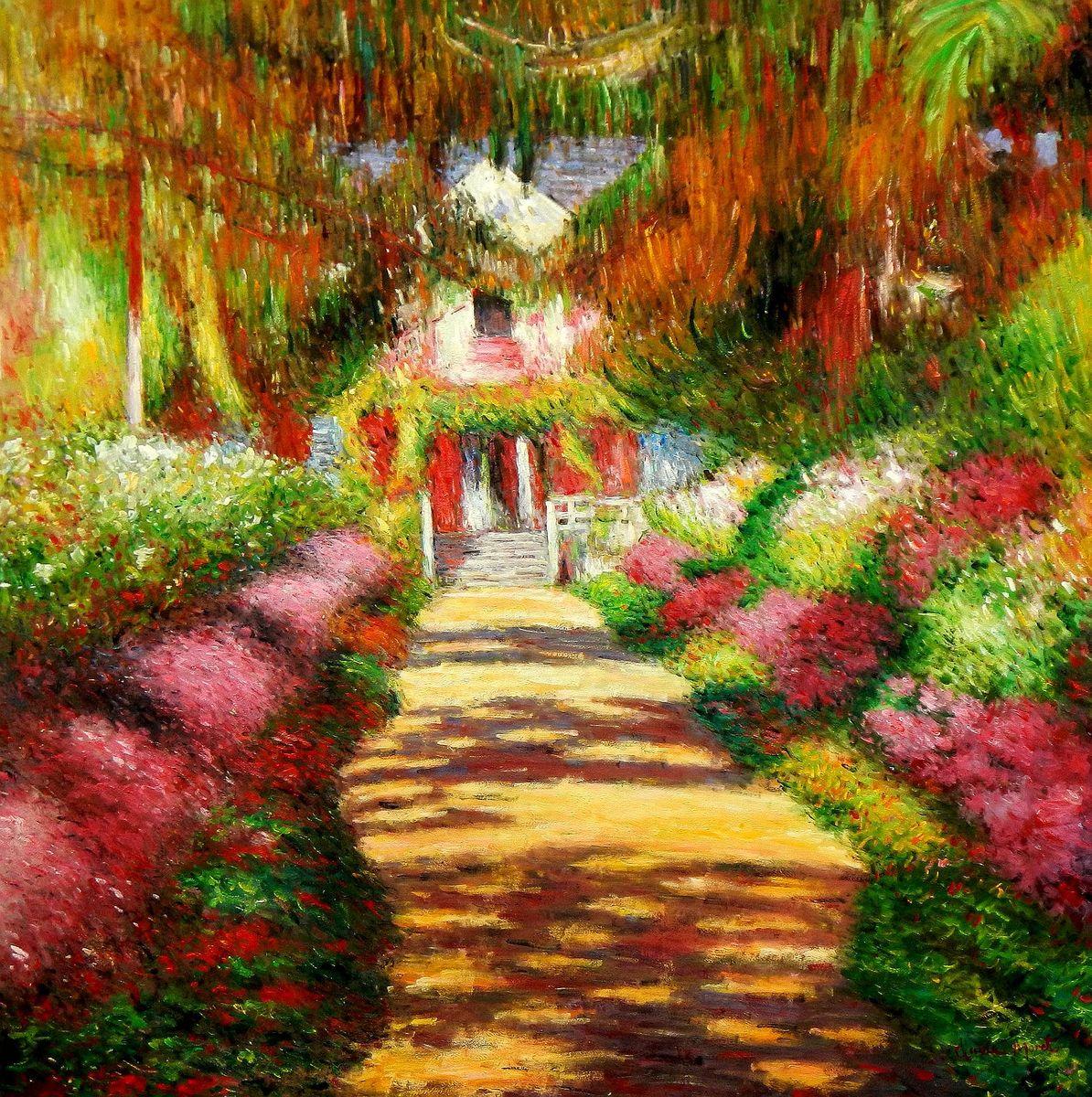 Claude Monet - Pfad in Monet´s Garten m96915 120x120cm handgemaltes Ölbild
