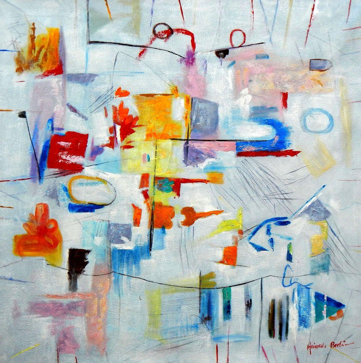 Abstract - Playground m96917 120x120cm abstraktes Gemälde handgemalt