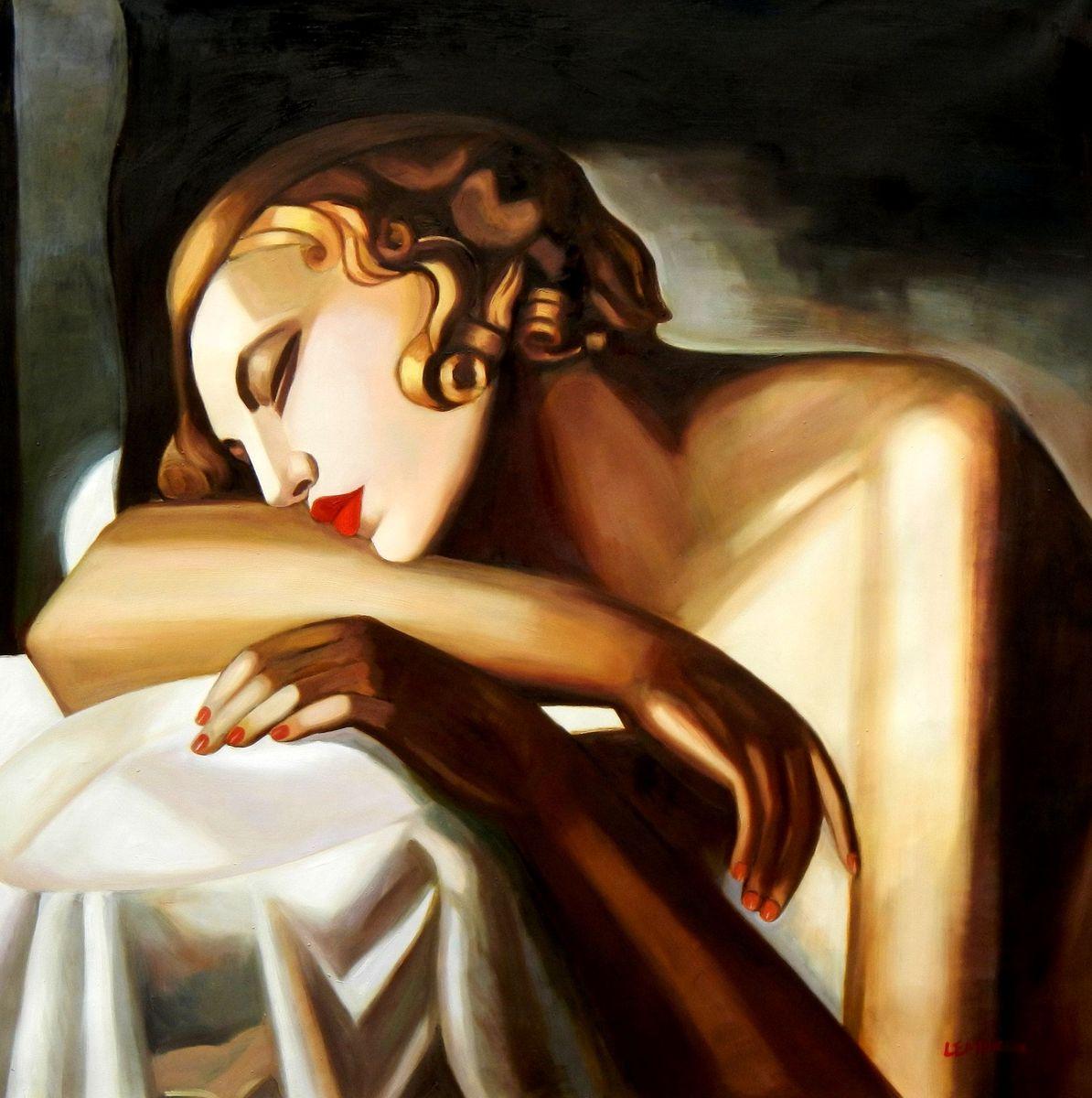 Homage of Tamara de Lempicka - Die Schläferin II m96919 120x120cm Art Deco Ölbild handgemalt