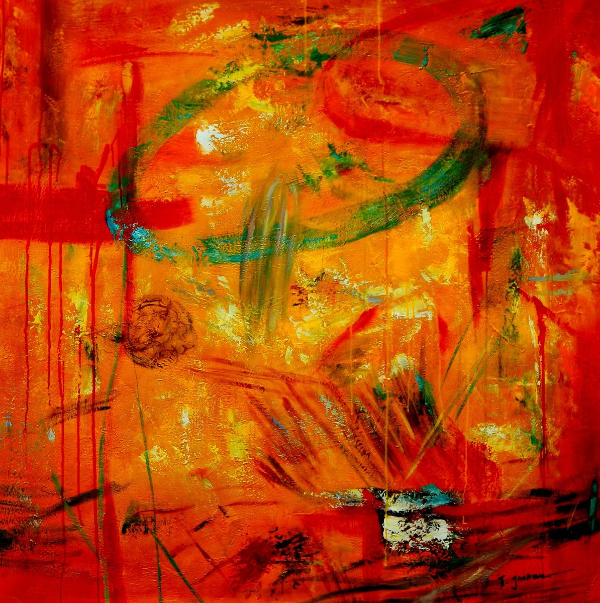 Abstract - The Angola wildlife II m96920 120x120cm abstraktes Ölbild