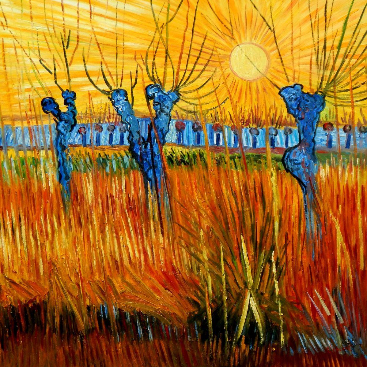 Vincent van Gogh - Weiden bei Sonnenuntergang m96923 120x120cm Ölbild handgemalt