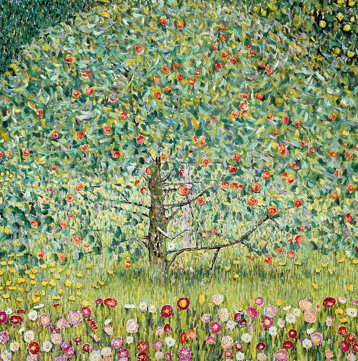 Gustav Klimt - Der Apfelbaum m96955 120x120cm bemerkenswertes Ölgemälde handgemalt Museumsqualität