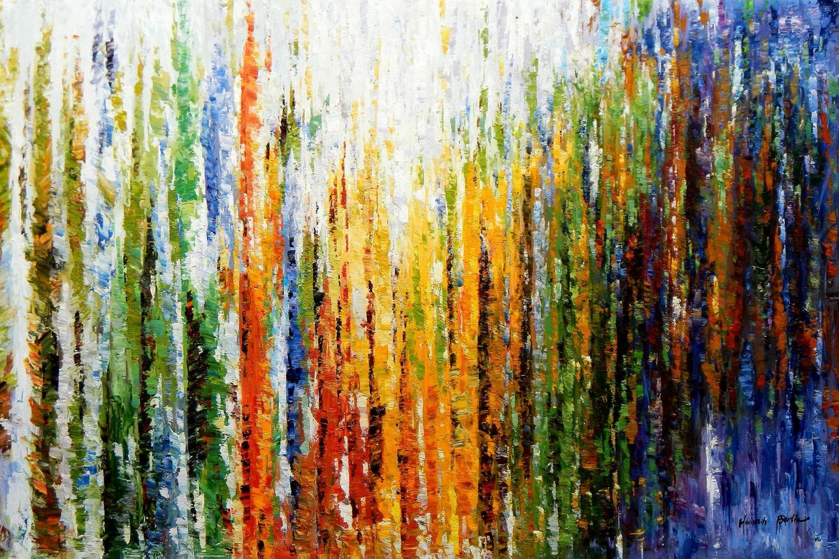 Abstrakt - Durch den Monsun p96949 120x180cm exquisites Ölbild handgemalt