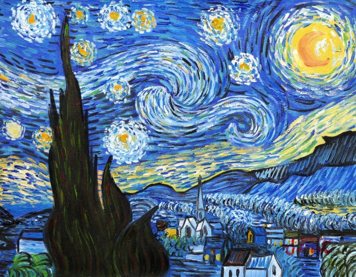 Vincent van Gogh - Sternennacht a96976 30x40cm exzellentes Ölgemälde handgemalt