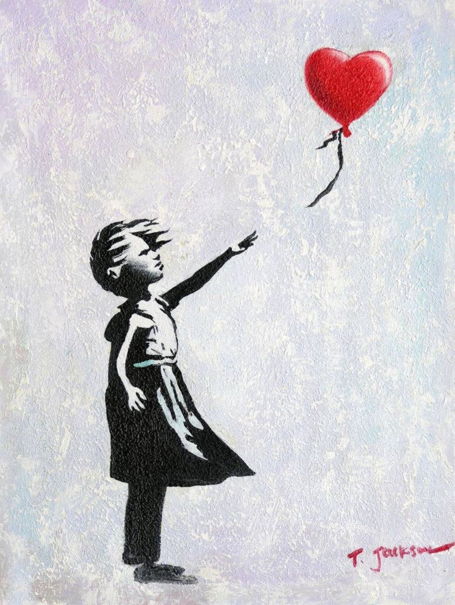Homage to Banksy - Girl with balloon a96978 30x40cm exquisites Ölgemälde