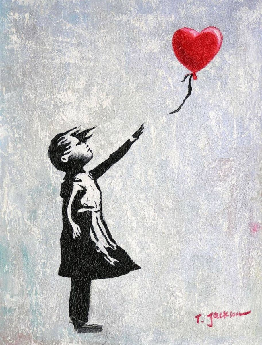 Homage to Banksy - Girl with balloon a96983 30x40cm exquisites Ölgemälde
