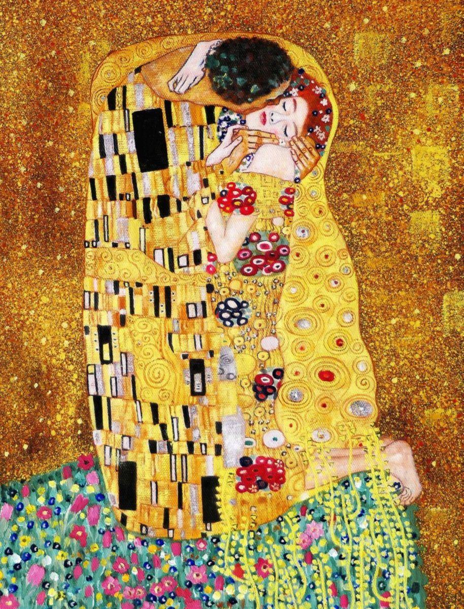 Gustav Klimt - Der Kuss a97206 30x40cm Jugendstil Ölgemälde handgemalt Museumsqualität
