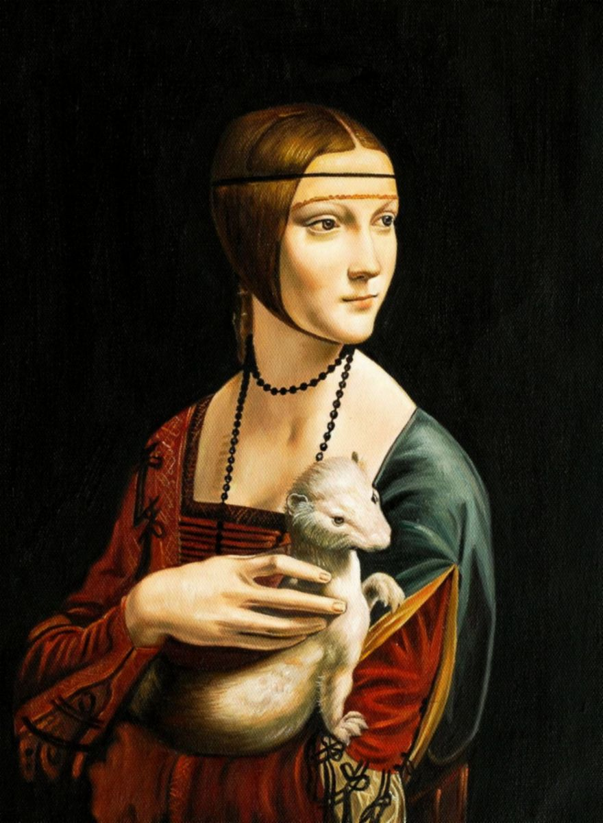 Leonardo da Vinci - Dame mit Hermelin a97210 30x40cm exzellentes Ölgemälde Museumsqualität
