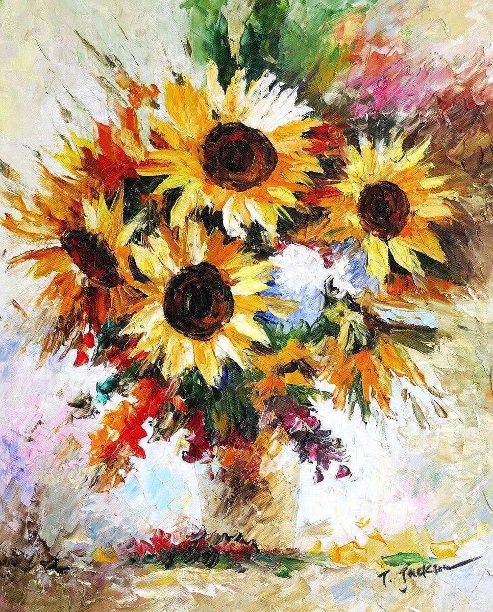 Modern Art - Vase mit Sonnenblumen b96996 40x50cm modernes Ölgemälde