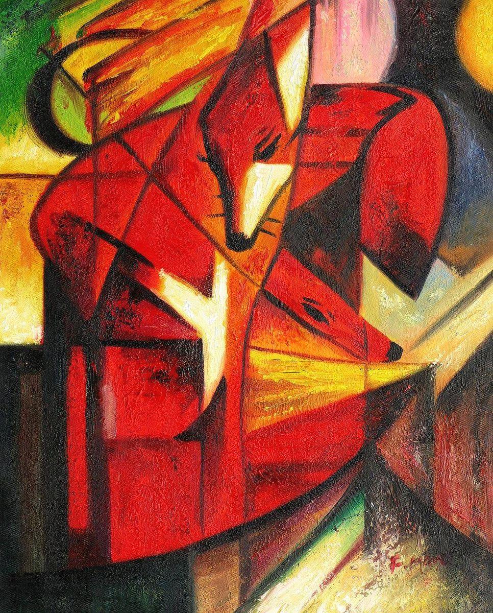 Franz Marc - Füchse b96997 40x50cm Expressionismus Ölgemälde handgemalt