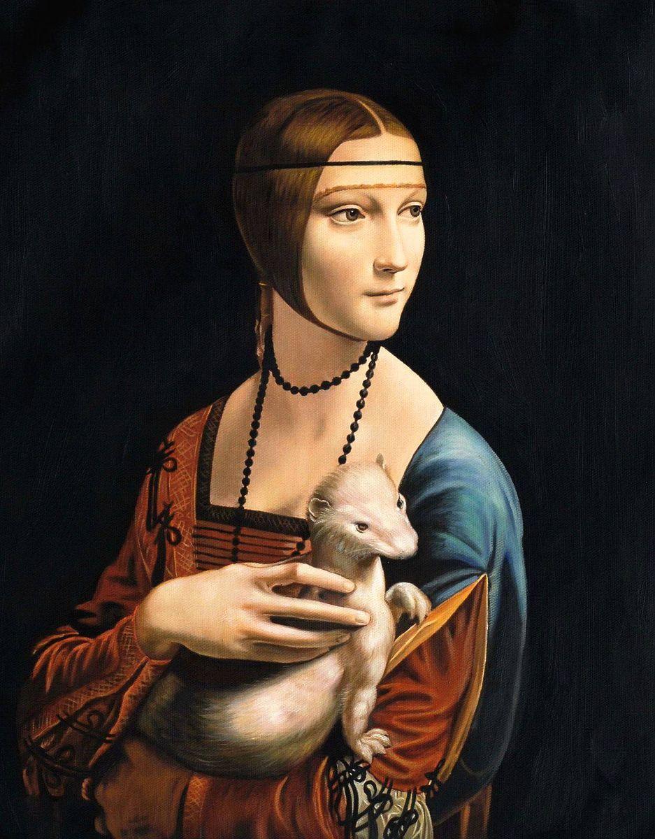 Leonardo da Vinci - Dame mit Hermelin b97211 40x50cm exzellentes Ölgemälde Museumsqualität