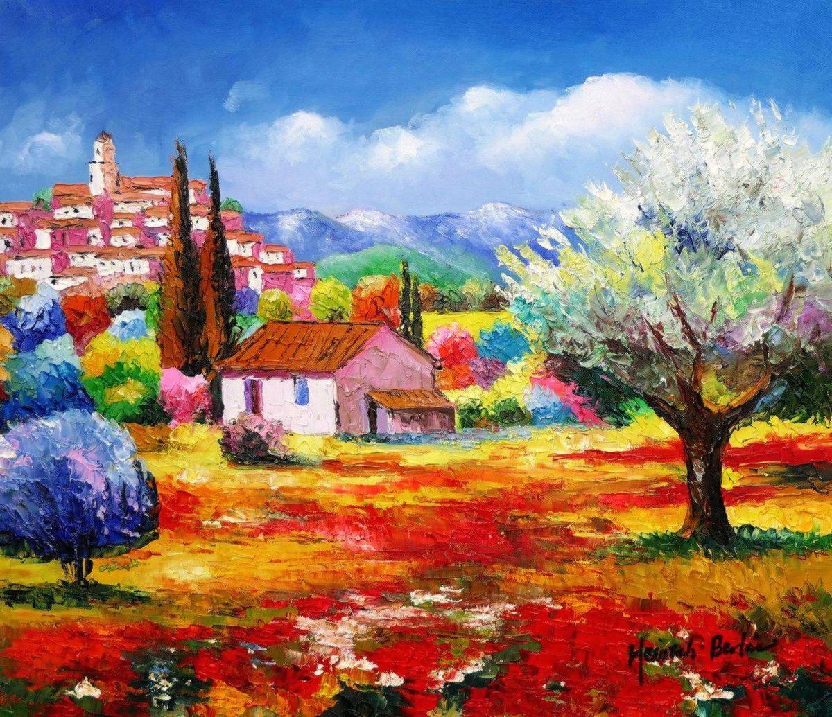 Modern Art - Frühling in der Toskana c97024 50x60cm exquisites Ölbild