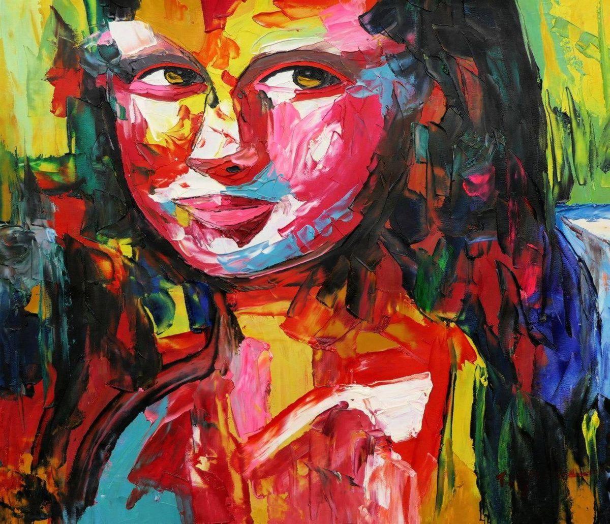 Modern Art - Mona Lisa c97025 50x60cm exquisites Ölbild