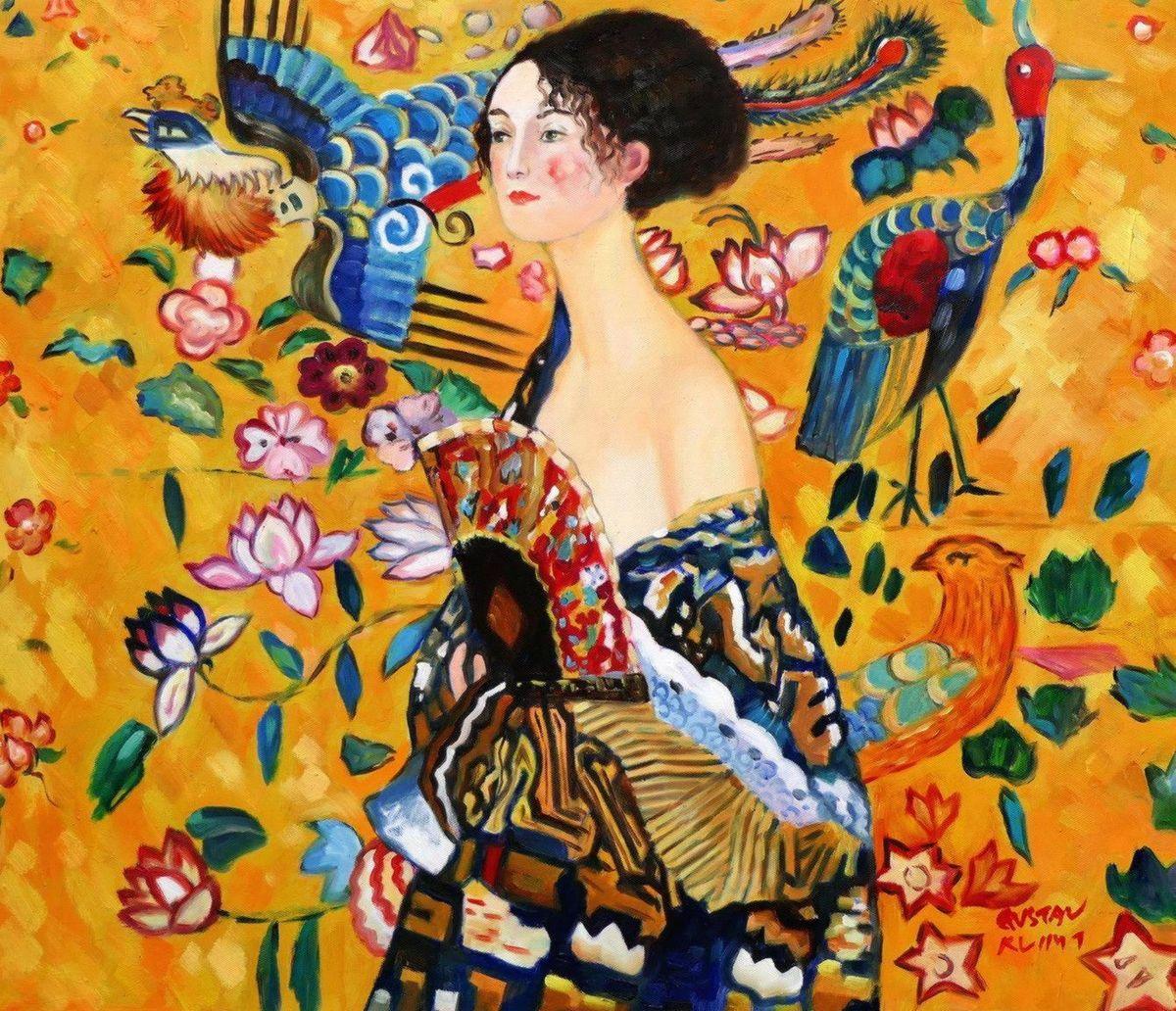 Gustav Klimt - Frau mit Fächer c97036 50x60cm Jugendstil Ölgemälde handgemalt