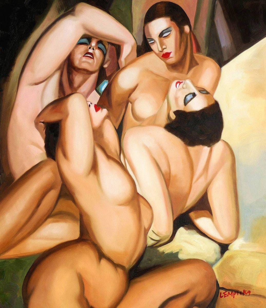 Homage of Tamara de Lempicka - Four nudes c97039 50x60cm beeindruckendes Ölbild handgemalt