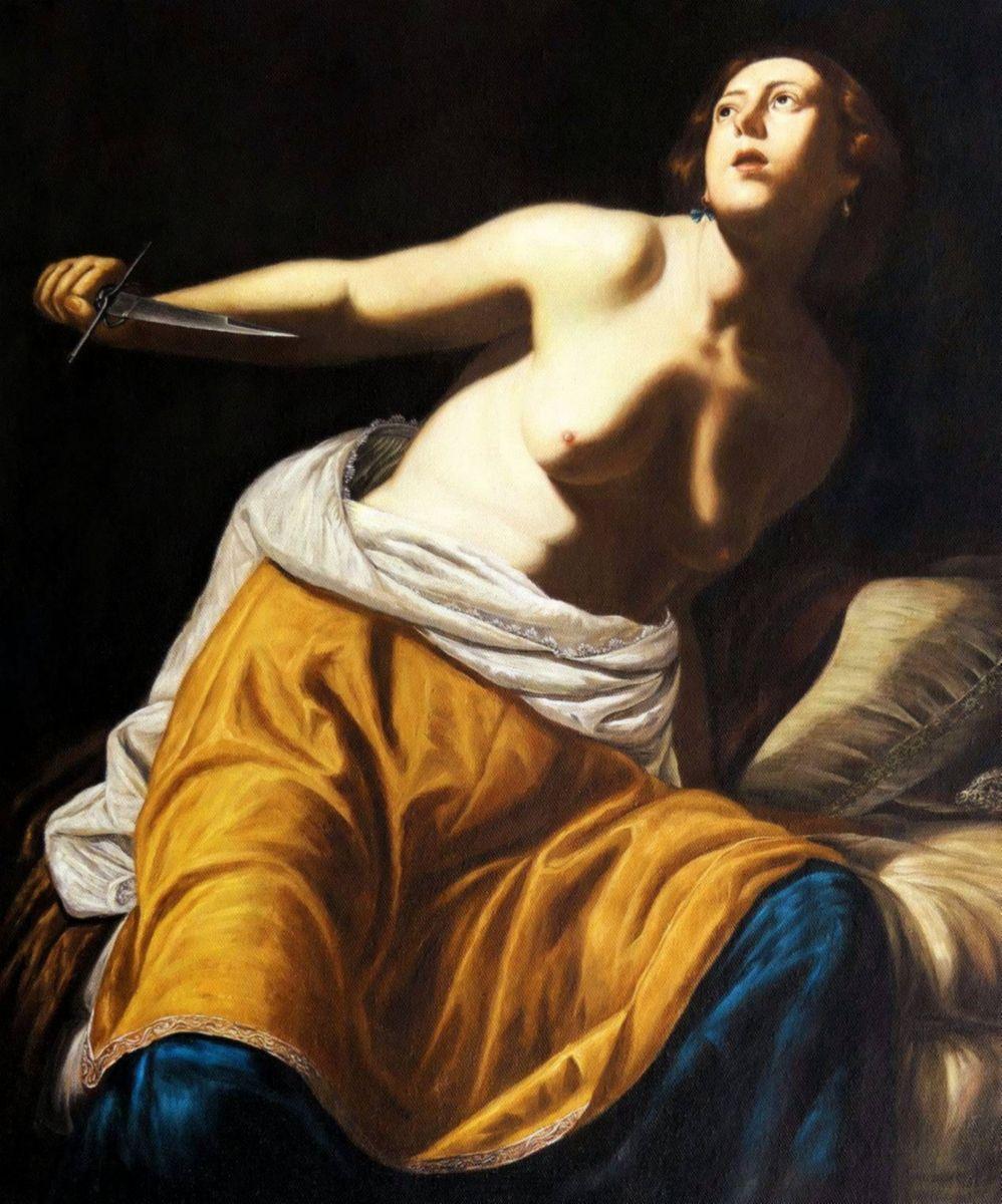 Artemisia Gentileschi - Lucretia c97214 50x60cm exzellentes Ölgemälde Museumsqualität