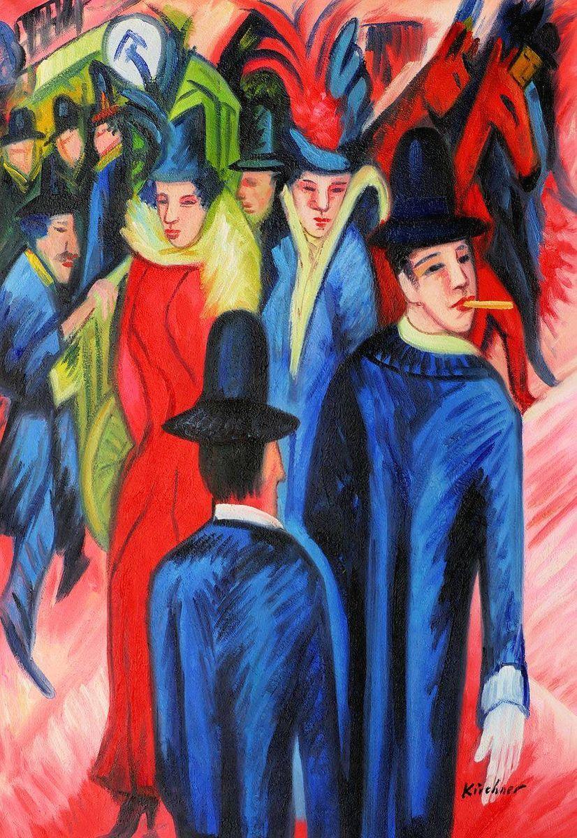 Ernst Ludwig Kirchner - Berliner Straßenszene d97070 60x90cm exquisites Ölbild