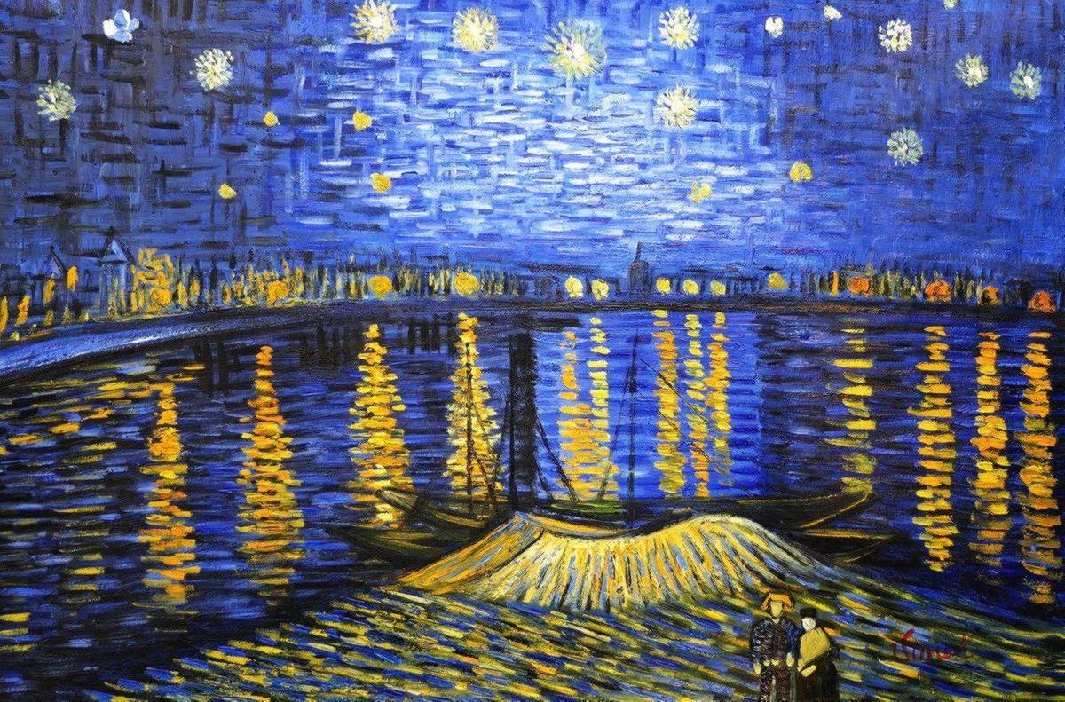 Vincent van Gogh - Sternennacht über der Rhone d97086 60x90cm exzellentes Ölgemälde handgemalt