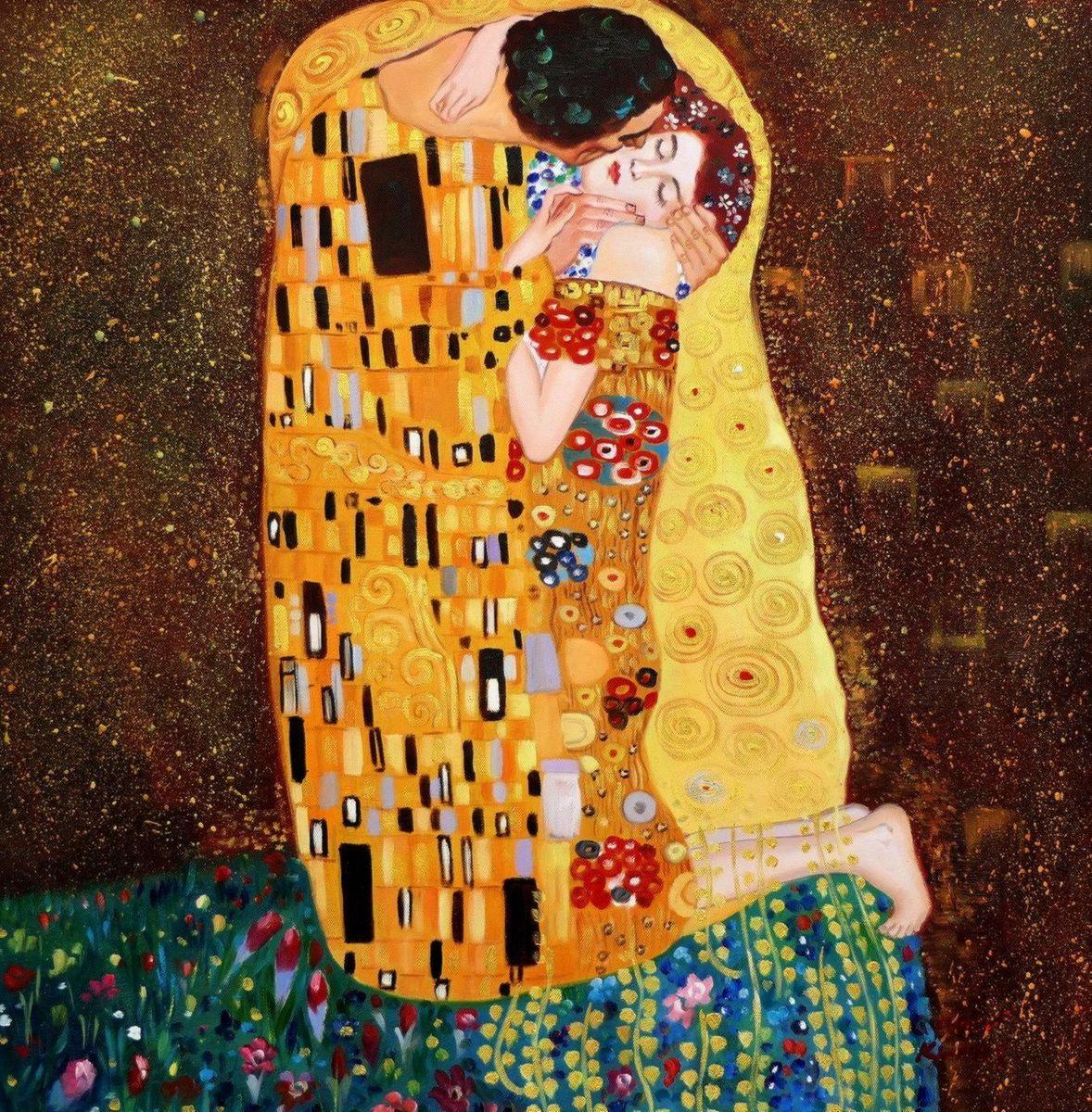 Gustav Klimt - Der Kuss e97059 60x60cm Jugendstil Ölgemälde handgemalt