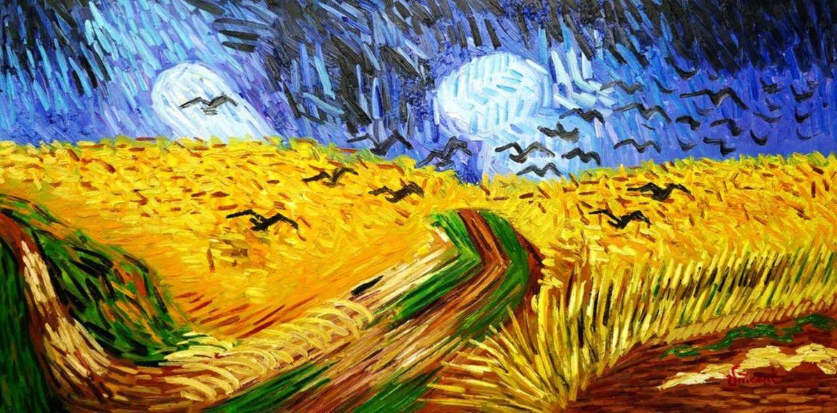 Vincent van Gogh - Kornfeld mit Krähen f97103 60x120cm Ölgemälde handgemalt