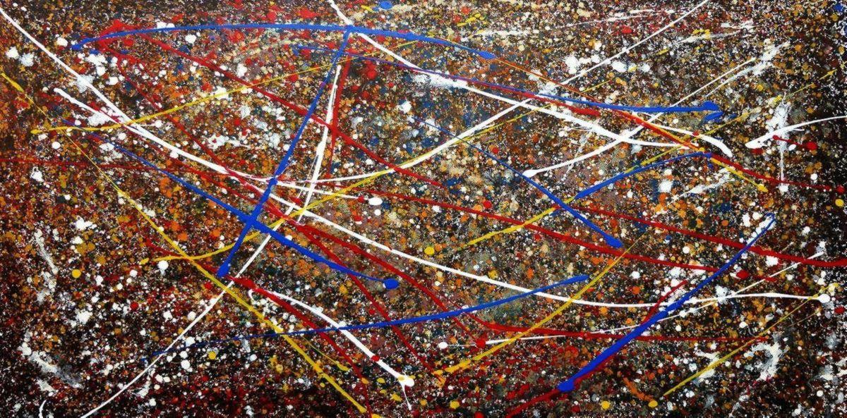 Homage of Pollock - Number 2 f97104 60x120cm abstraktes Ölbild