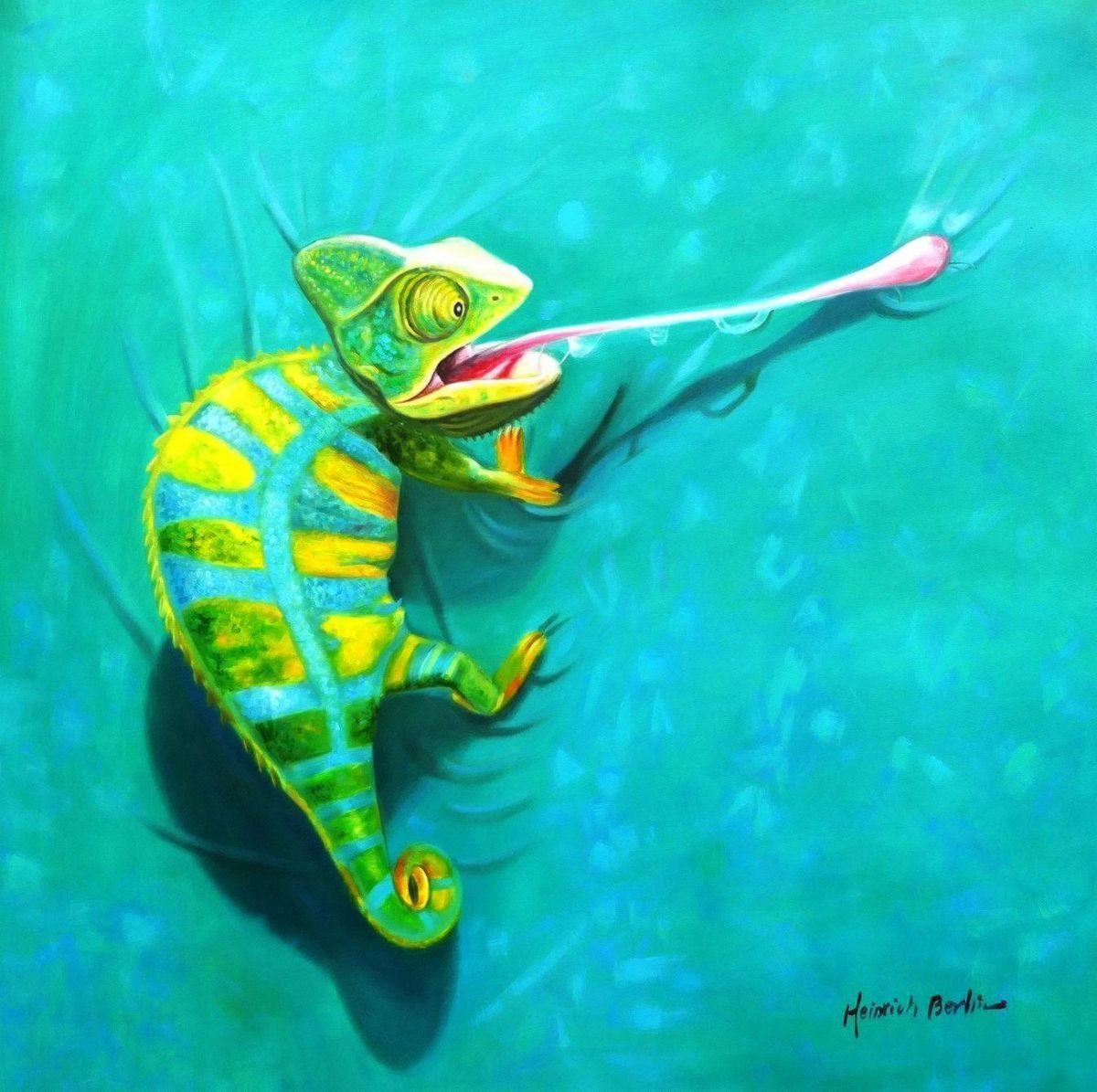 Modern Art - Chamäleon Farben der Natur II g97124 80x80cm Ölbild handgemalt