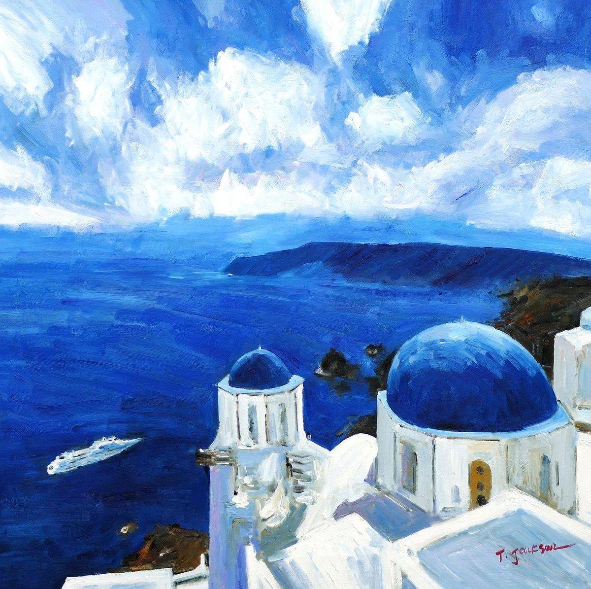 Modern Art - Kirche auf Santorin g97128 80x80cm Ölbild handgemalt