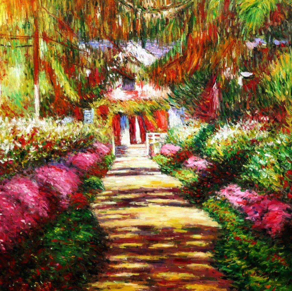 Claude Monet - Pfad in Monet´s Garten g97129 80x80cm handgemaltes Ölbild