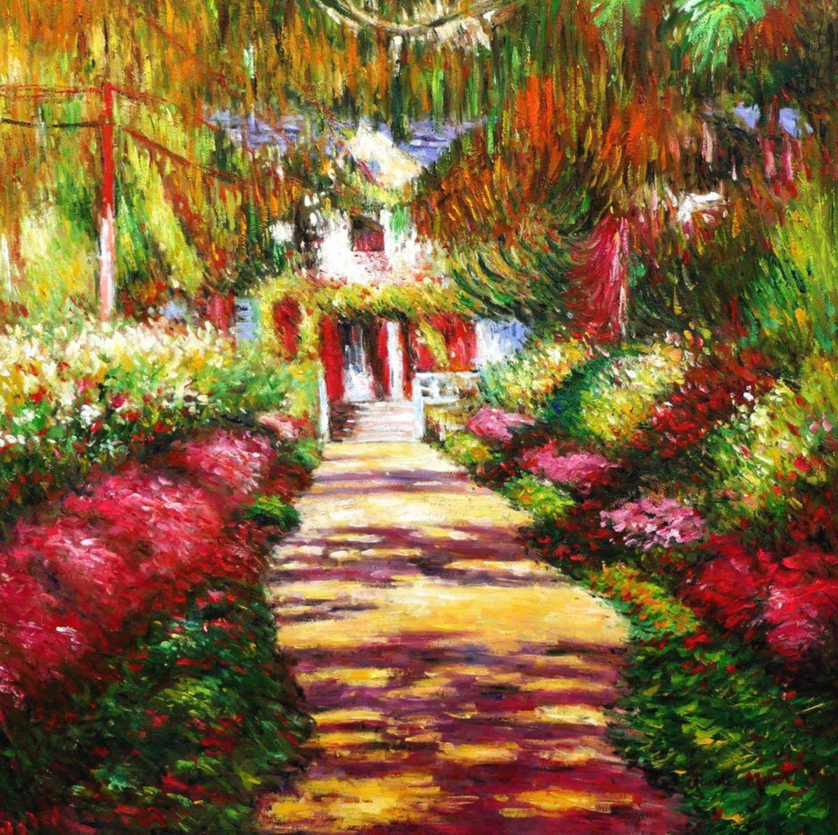 Claude Monet - Pfad in Monet´s Garten g97130 80x80cm handgemaltes Ölbild