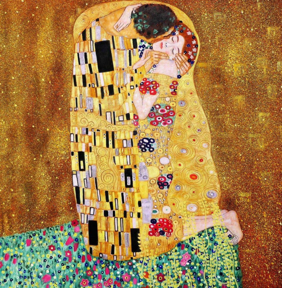 Gustav Klimt - Der Kuss g97225 80x80cm Jugendstil Ölgemälde handgemalt Museumsqualität