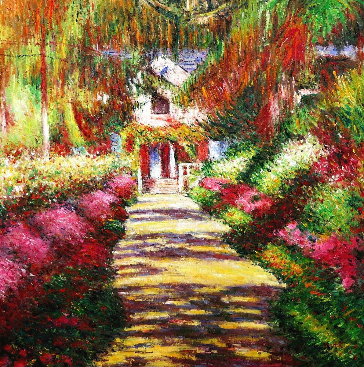 Claude Monet - Pfad in Monet´s Garten h97160 90x90cm handgemaltes Ölbild