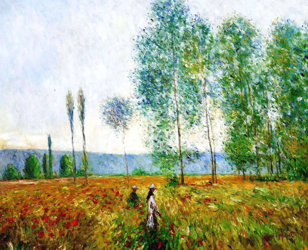 Claude Monet - Felder im Frühling i97147 80x110cm Ölbild handgemalt
