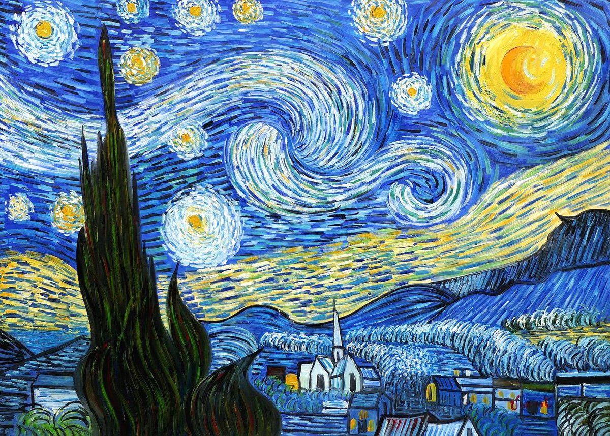 Vincent van Gogh - Sternennacht i97151 80x110cm exzellentes Ölgemälde handgemalt