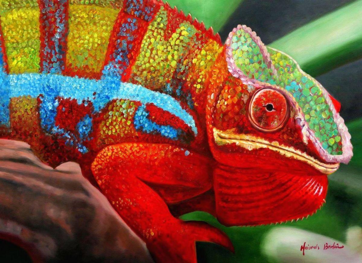 Modern Art - Chamäleon Farben der Natur i97153 80x110cm Ölbild handgemalt
