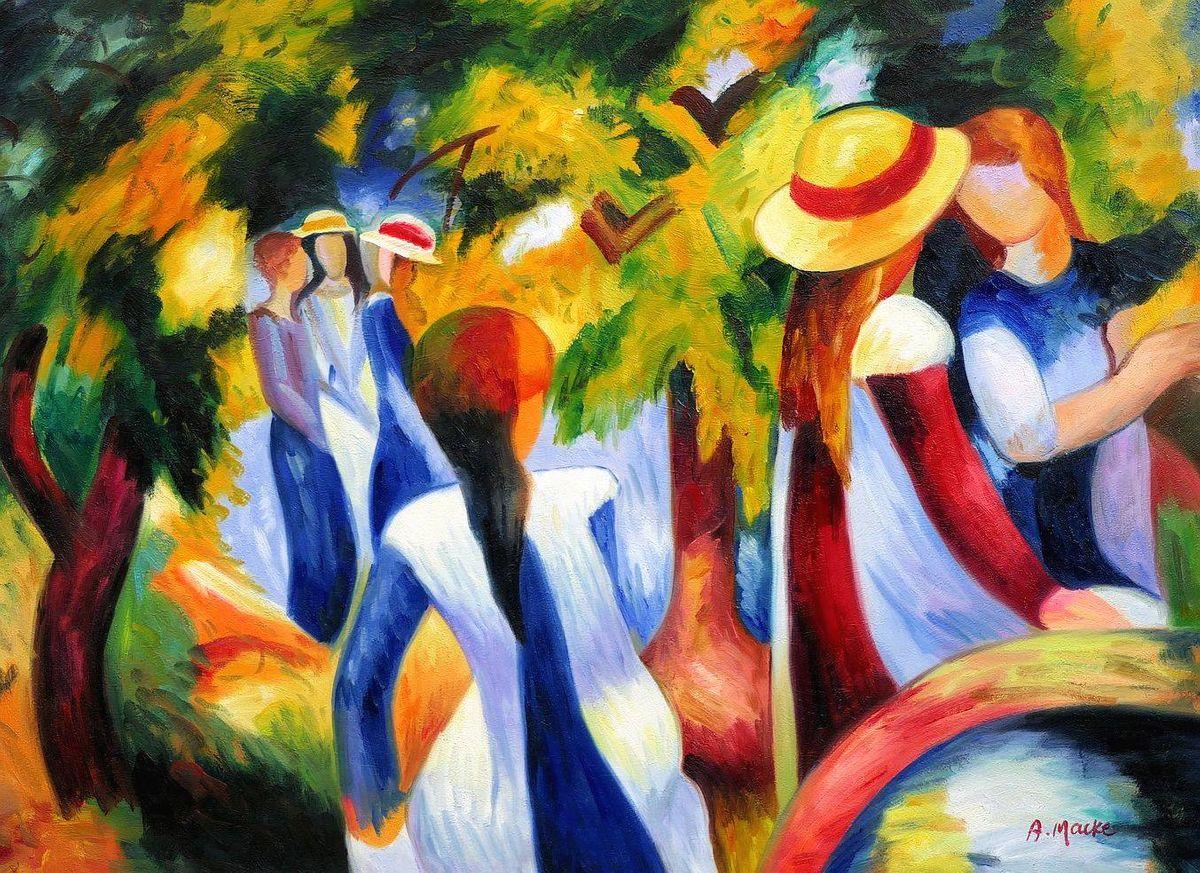 August Macke - Mädchen unter Bäumen i97155 80x110cm beeindruckendes Ölbild