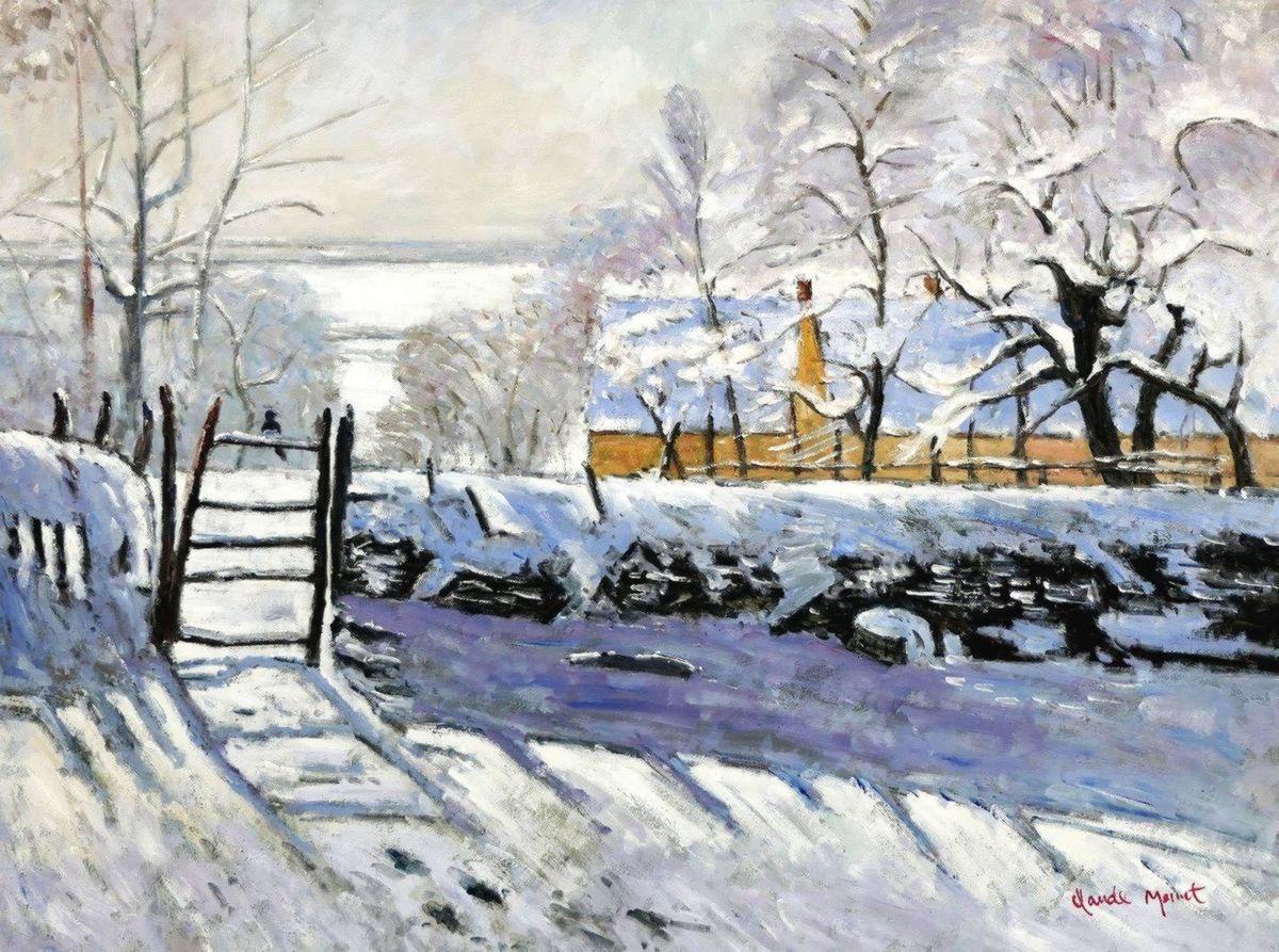 Claude Monet - Die Elster k97166 90x120cm handgemaltes Ölgemälde