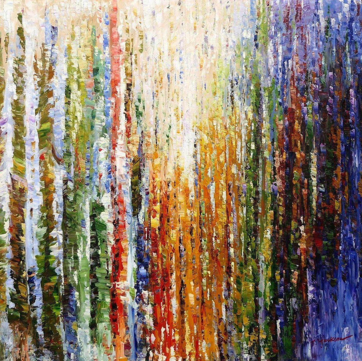 Abstrakt - Durch den Monsun m97178 120x120cm exquisites Ölbild handgemalt
