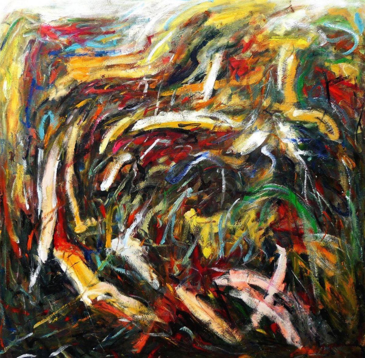 Abstract - Into the wild m97181 120x120cm abstraktes Ölgemälde handgemalt
