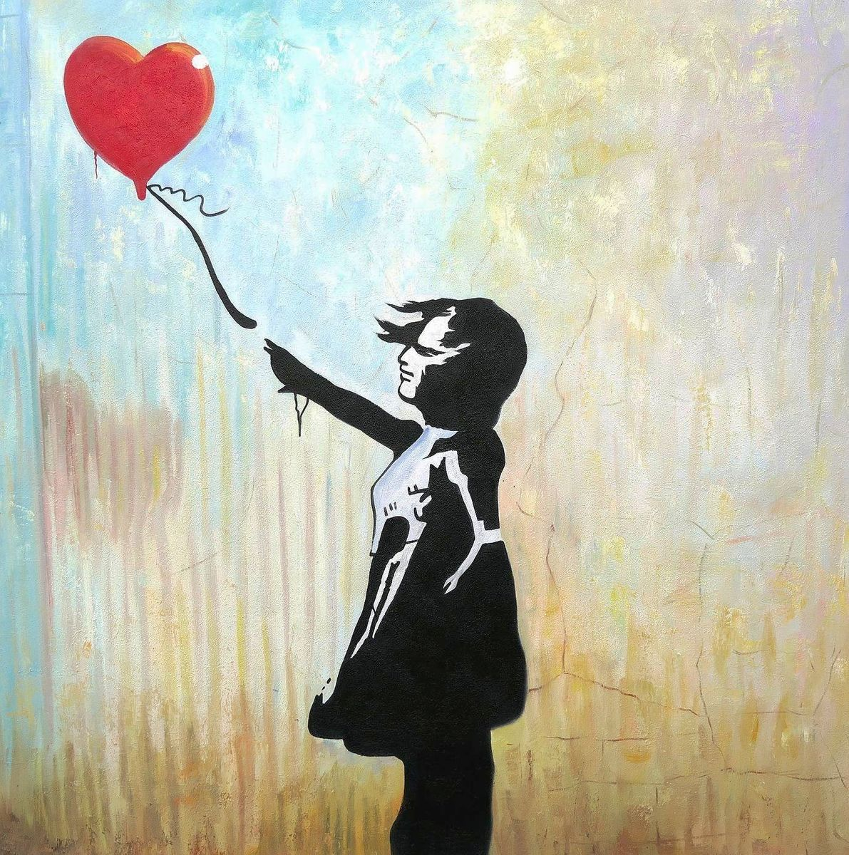 Homage to Banksy - Girl with balloon m97205 120x120cm exquisites Ölgemälde