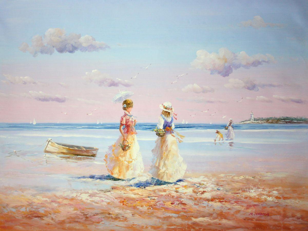 Sylt - Spaziergang am Strand k97636 90x120cm exzellentes Gemälde