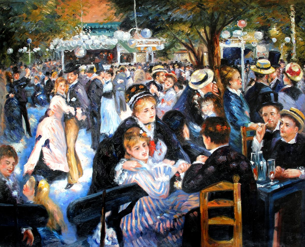 Pierre Renoir - Ball im Moulin de la Galette x97695 80x100cm imposantes Ölgemälde handgemalt Museumsqualität