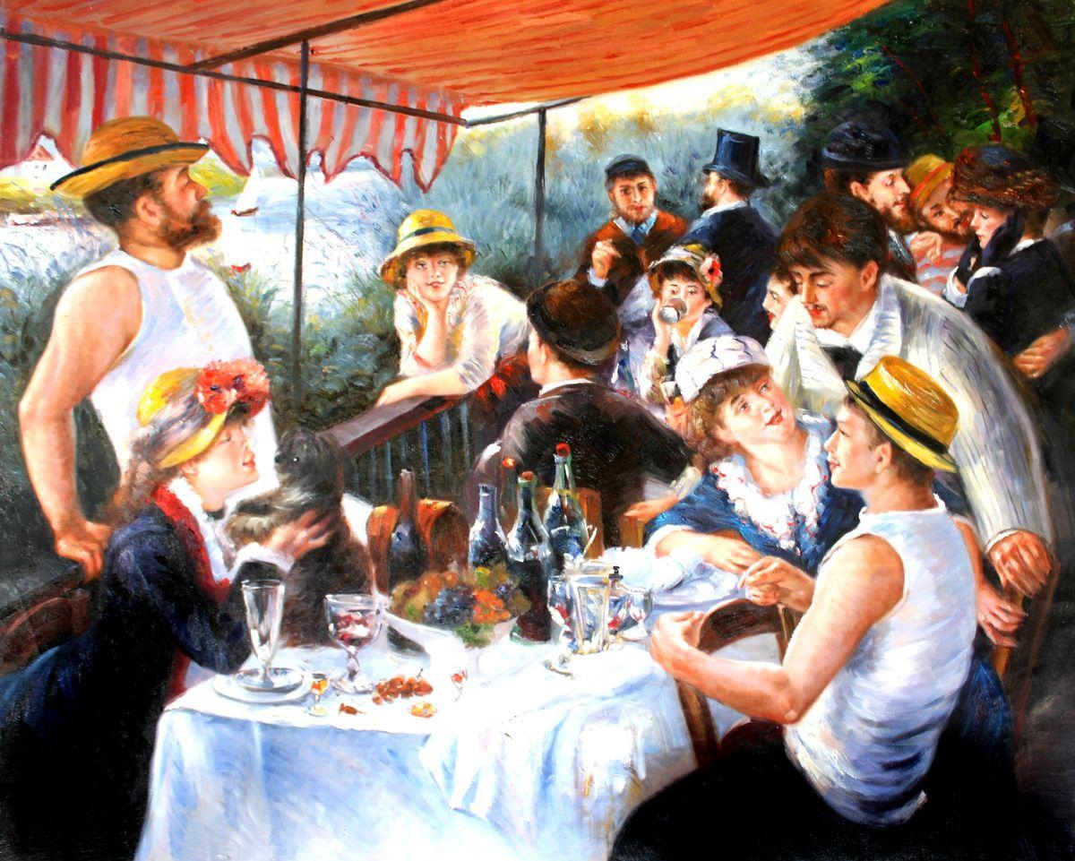 Pierre Renoir - Frühstück der Ruderer x97696 80x100cm exzellentes Ölgemälde Museumsqualität