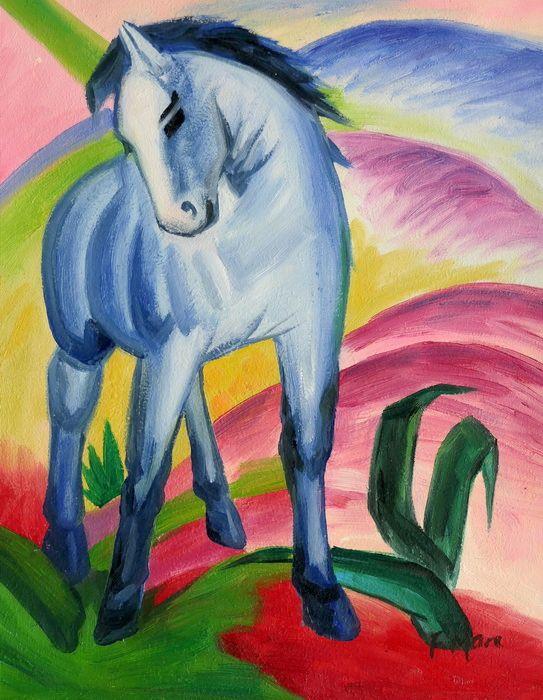 Franz Marc - Blaues Pferd a97240 30x40cm Expressionismus Ölgemälde