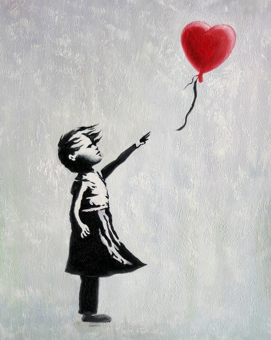 Homage to Banksy - Girl with balloon b97255 40x50cm exquisites Ölgemälde