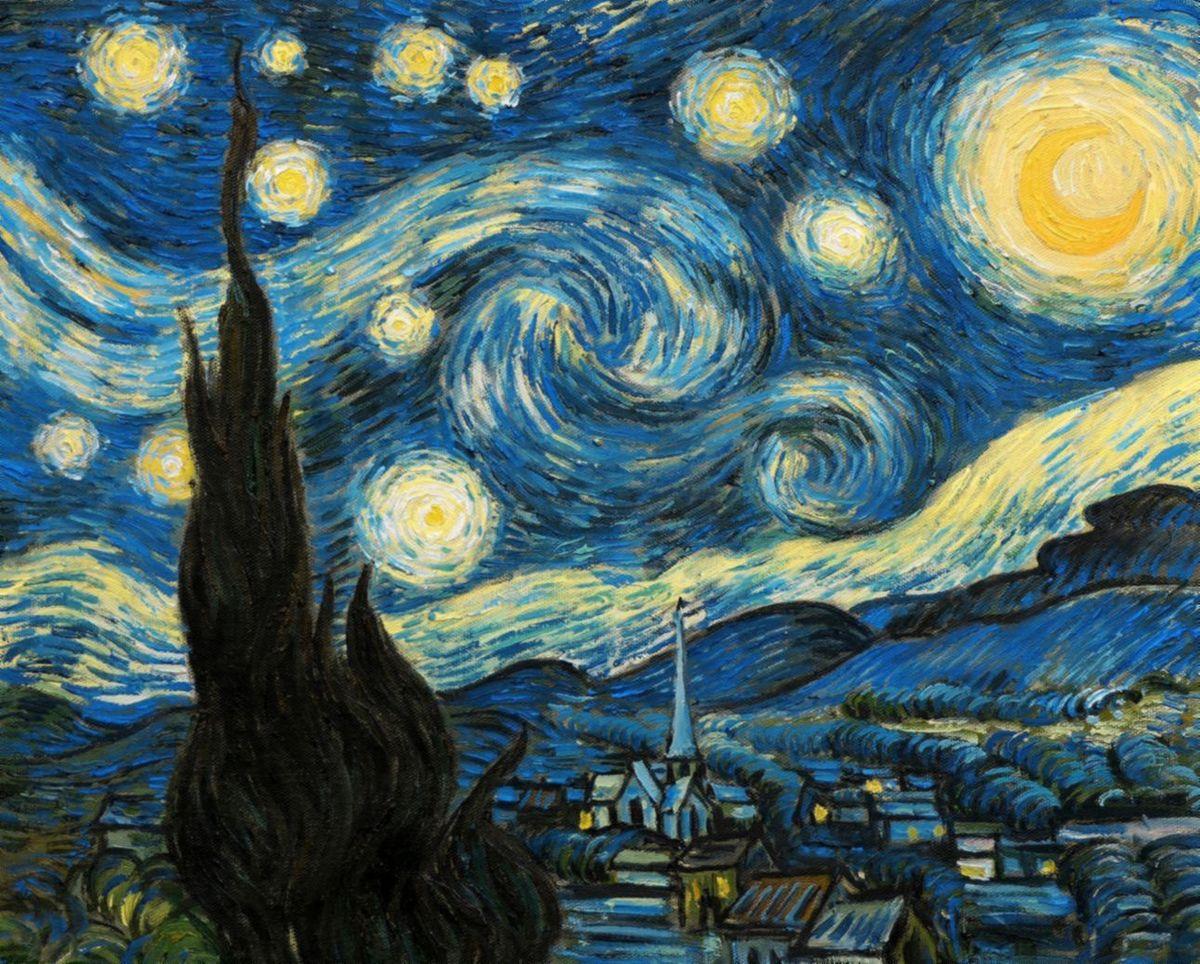 Vincent van Gogh - Sternennacht b97545 40x50cm exzellentes Ölgemälde handgemalt Museumsqualität