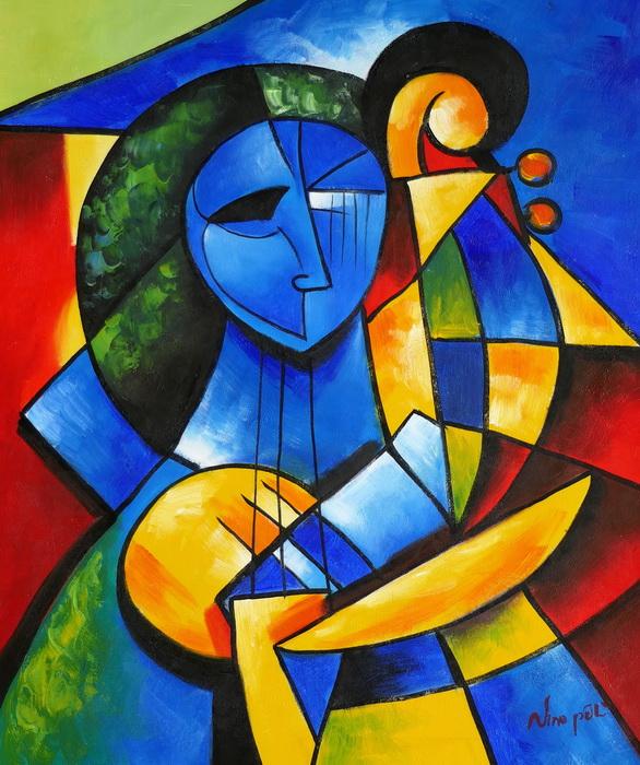 Frau mit Harfe c97287 50x60cm kubistisches Ölbild