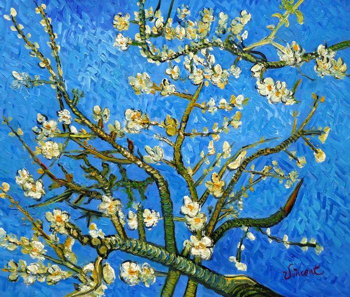 Vincent van Gogh - Äste mit Mandelblüten c97309 50x60cm Ölbild handgemalt