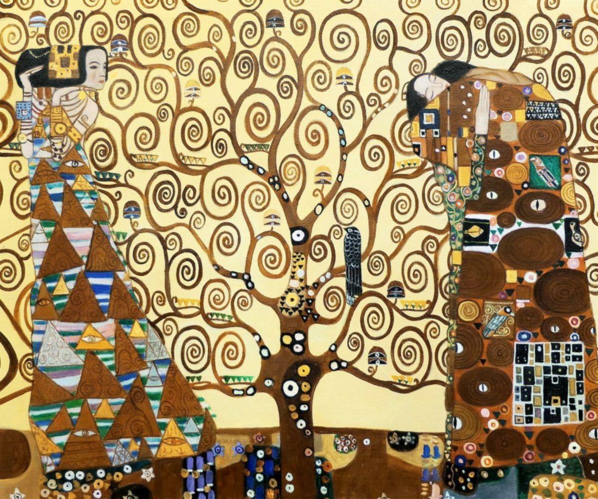 Gustav Klimt - Der Lebensbaum c97549 50x60cm Jugendstil Ölgemälde handgemalt Museumsqualität