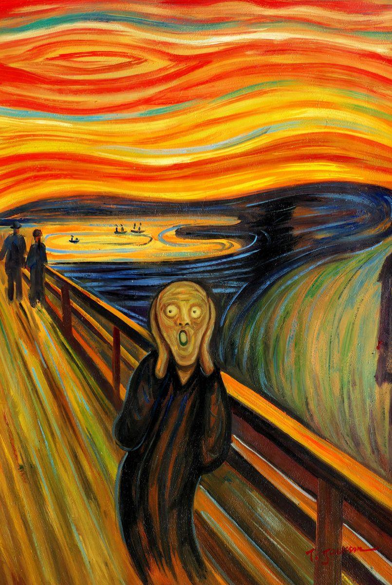 Edvard Munch - Der Schrei d97323 60x90cm handgemaltes Ölgemälde