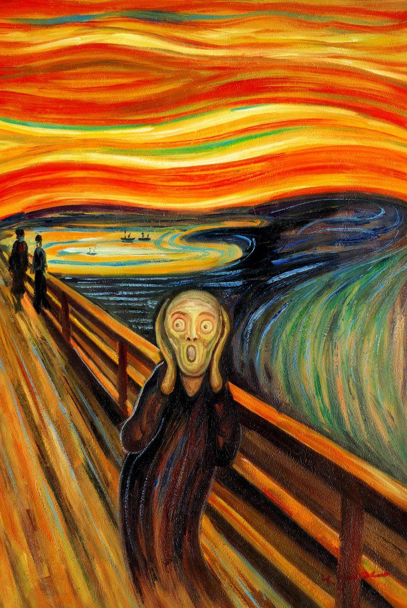 Edvard Munch - Der Schrei d97325 60x90cm handgemaltes Ölgemälde